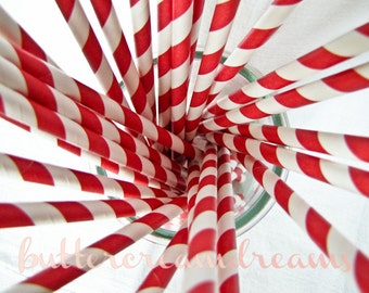 CLEARANCE - Striped Paper Drinking Straws (25) - Classic CHERRY RED - Includes Free Printable Straw Flags