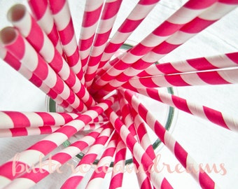CLEARANCE - Striped Paper Drinking Straws (25) - HOT PINK - Includes Free Printable Straw Flags