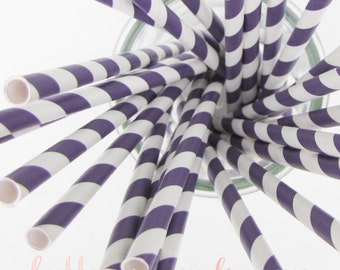CLEARANCE - Striped Paper Drinking Straws (25) - Deep PURPLE - Includes Free Printable Straw Flags