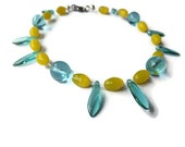 Blue and Yellow glass bead anklet.