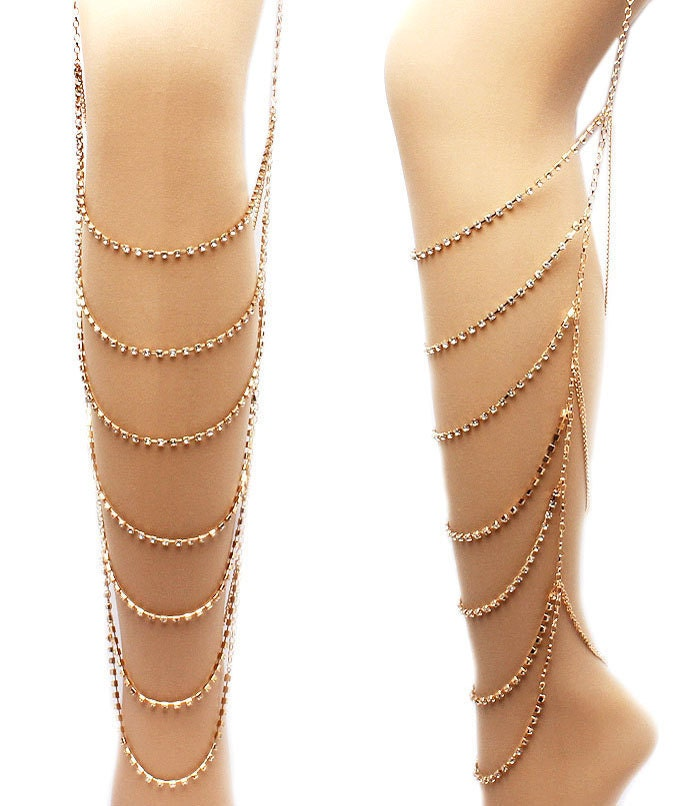 gold leg and thigh jewelry accented with by paperdollscouture