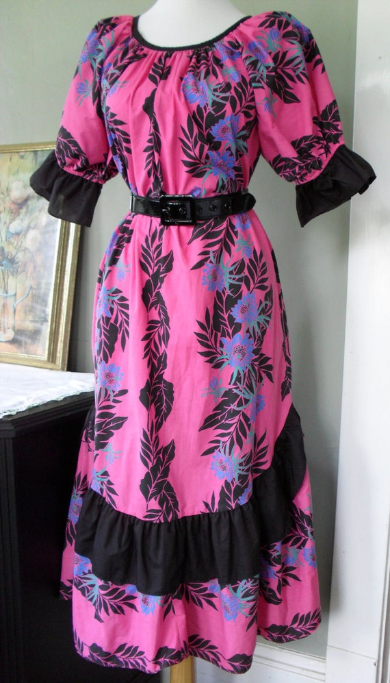 Hawaiian floral print vintage dress pink and black  RESERVED FOR ROBIN