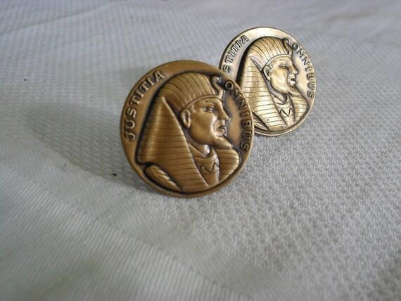 egyptian cufflinks, pharoah, copper cufflinks 1960s 1970s