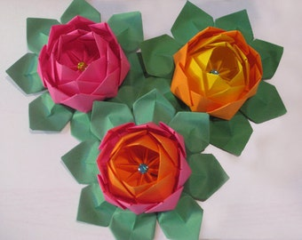 Open Jeweled Origami Lotus