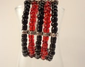 Black and Red Ebead Beaded Memory Wire Cuff 41