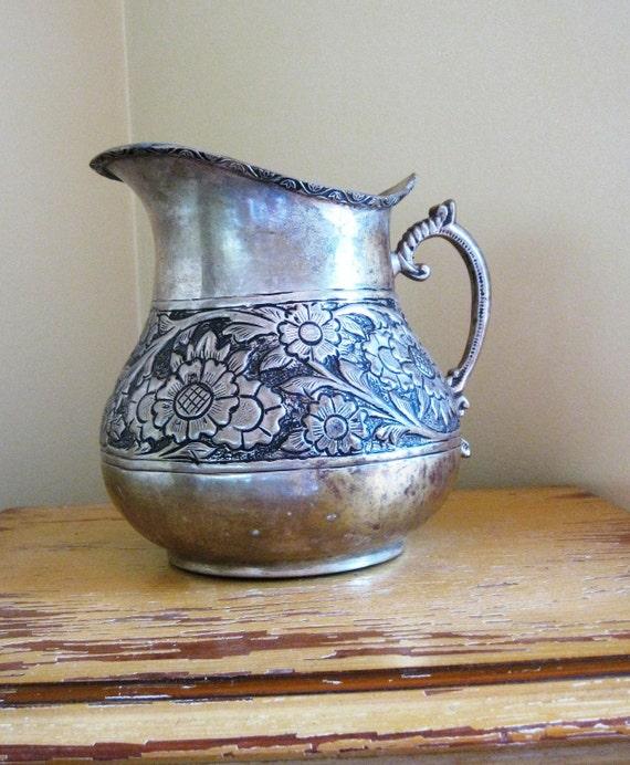 Pewter Pitcher, Vase, Jug with Embossed Flower and Leaf Design - Silver, Vintage, Floral, Rustic, Water Pourer - FREE Shipping