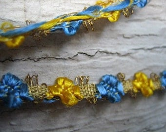 Rare Circa 1920s Vintage Metallic and Floss Flower Trim  (Ref A-1349 Box 1)