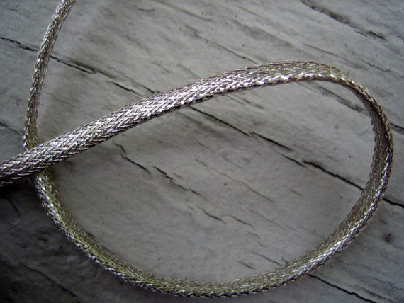 Last Piece Early 1900s Vintage Silver Metallic Trim - Hollow Core -  1/8th inch wide -  2 yards 17 inches long
