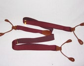 vintage burgandy and tan leather button on suspenders new old stock