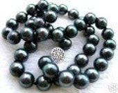 Avoid freight      Black pearl necklace 18 inches 7-8 mm silver buttons