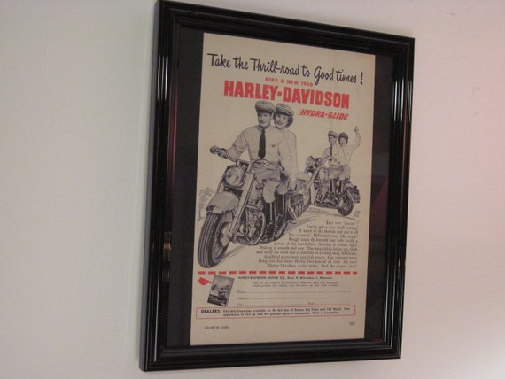 1950 Harley Couples - Thrill-road to Good Times - Original, Framed