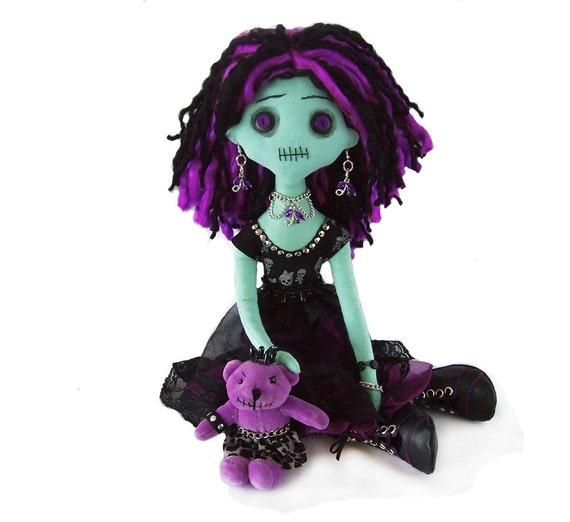 PAULA the creepy horror monster cloth rag Nelly-Molla doll with a really mean teddybear  OOAK