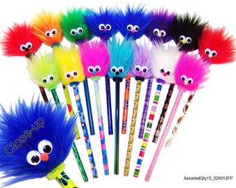 "15 Fuzzy Pencils  ""A SMILE with a TWIST"" Assorted"