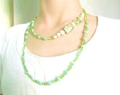 Double Strand Beautiful Soft Green Beaded Necklace