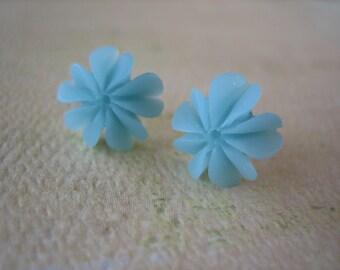Blue Mini Ruffle Flower Earrings