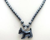 Beautiful 17 in.  Hematite Necklace w/ Dog Pendant