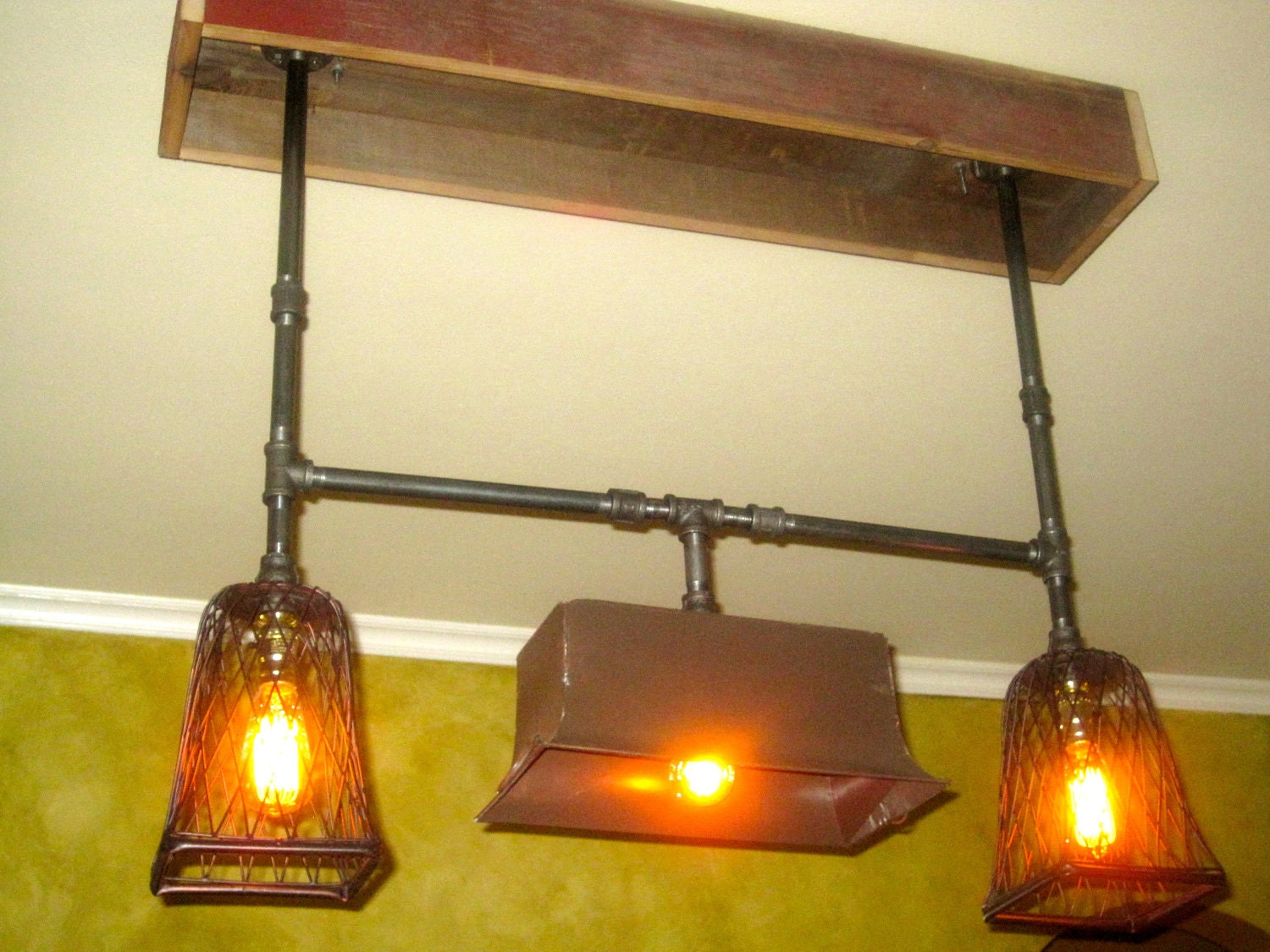 Industrial Iron Pipe Chandelier with reclaimed by PettyThings