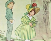 A tisket A tasket a Green and Yellow Basket, 1956 Childrens Nursery Rhyme Illustration, Vintage Book Page