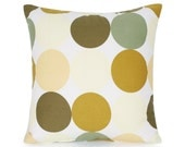 """18"""" x 18"""" Olive Green & Pastel Yellow Polka Dot Throw Pillow Cover"""