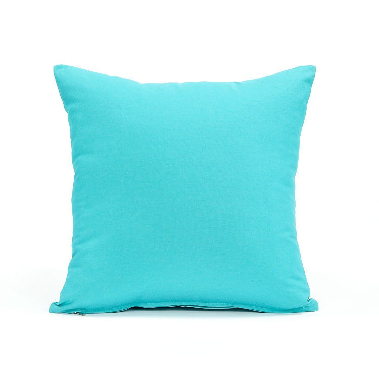 Throw Pillows Aqua Blue : 20 X 20 Solid Aqua Blue Throw Pillow Cover by BHDecor on Etsy
