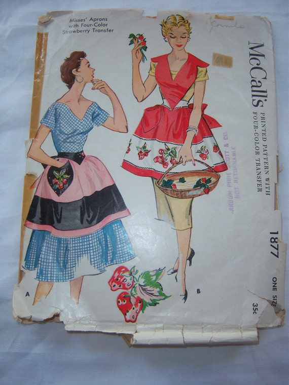 Vintage 1950s McCall's Sewing Pattern 1877 - Misses' Aprons with Four-Color Strawberry Transfer, One Size, All 6 Pieces, One Size