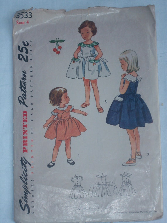 Vintage 1950s Simplicity Sewing Pattern - 3533 -  Girl's One-Piece Dress with Cherry Transfer Included