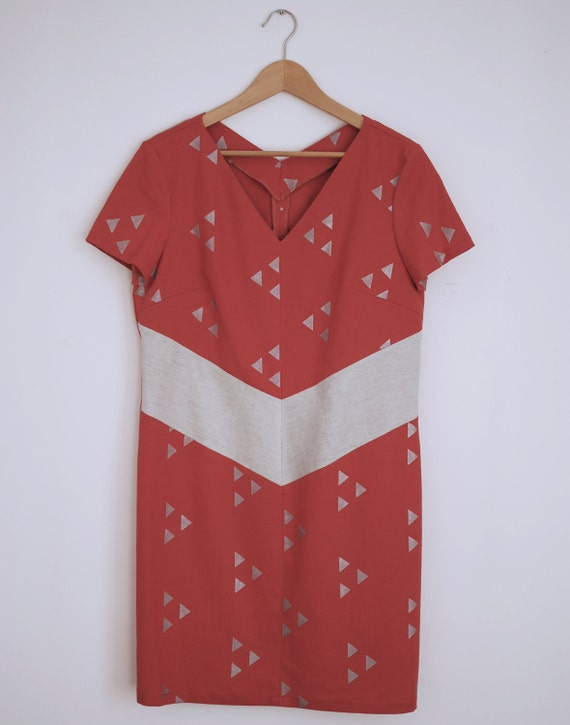 Hand printed  block linen dress