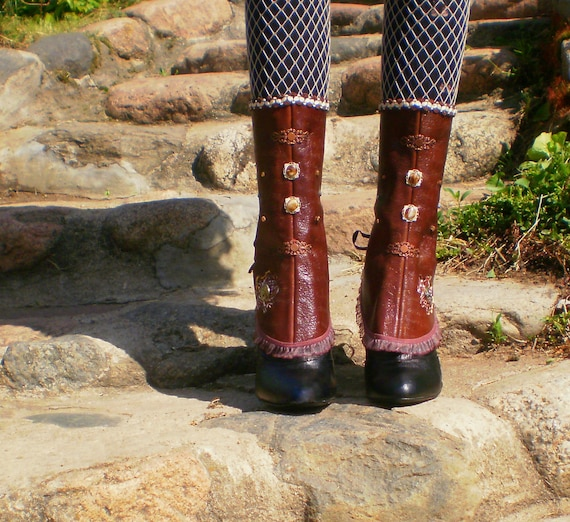 Lace Up Steampunk Spats from leather with watch mechanism
