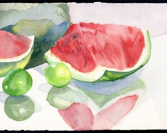 Reflections of Watermelon and Limes - Watercolor