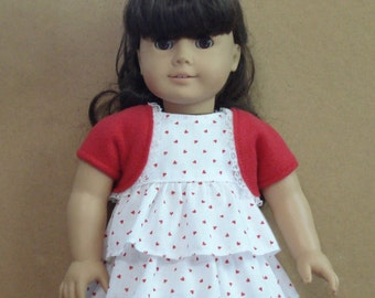 """American Girl 18"""" Doll Clothes - Ruffle Heart Dress and Shrug DYD004"""