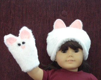 "Fur Kitty Cat Hand Puppet and Hat for  18"" Doll"