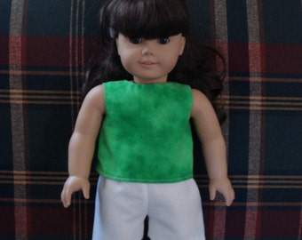 "18"" Doll Clothes - Green Top and White Shorts DYD026"