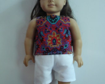 "18"" Doll Clothes - Multi-Color Top and White Shorts DYD020"