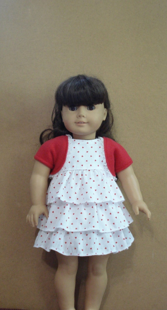 "American Girl 18"" Doll Clothes - Ruffle Heart Dress and Shrug DYD004"