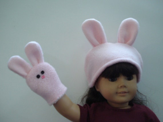 """Bunny Hand Puppet and Hat for American Girl 18"""" Doll  DYD005"""