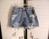 Distressed vintage high waisted shorts