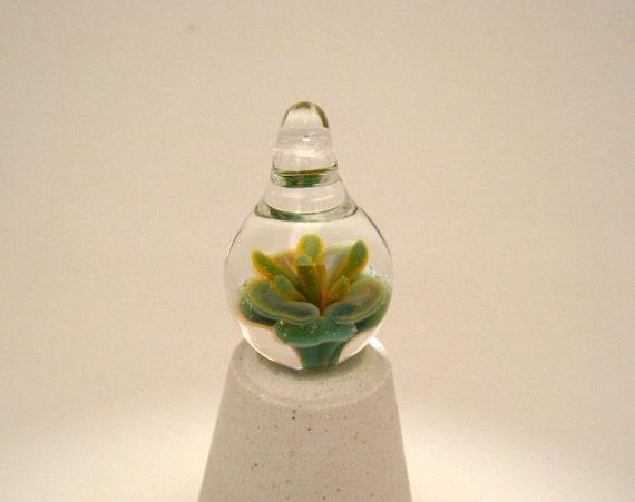Glass Teardrop Pendant Flower Implosion (6881)