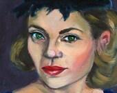 "Original 15cm x 15cm/ 5,9 in x 5,9 in oil painting on panel ""Green Eyes"""