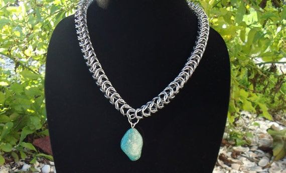 Amazonite Box Chain Chainmail Necklace