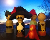 Pirates - set of four pirate wooden peg dolls