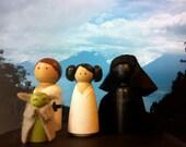 Star Wars - set of four superhero wooden peg dolls - Luke Skywalker, Princess Leia, Darth Vader, and Yoda