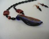 Statement Necklace with Matching Earrings - Focal - Glass Beads - Black Wine Copper Colored- Black Beads -OOAK