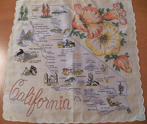 Vintage CALIFORNIA State Map Hanky/Hankie/Handkerchief...Beautiful Poppies Flower..Yellow/Peach/Orange