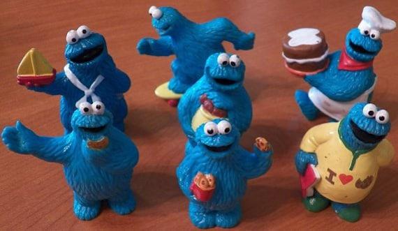 Vintage Lot of 7 COOKIE MONSTER PVC Figures..Sesame Street