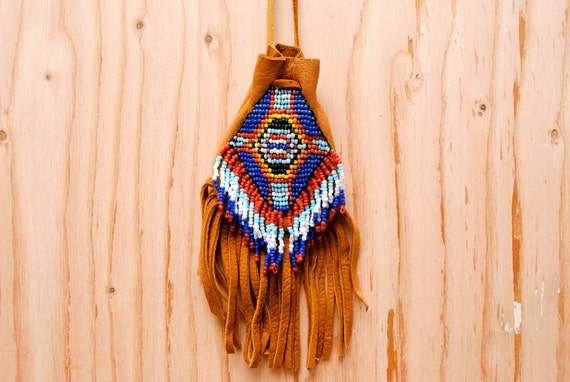 Vintage 1970's Southwestern Fringe Medicine Pouch - Native American Bead Leather Necklace