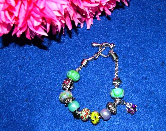Butterfly charm and glass toggle bracelet
