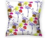 Cushion pattern pink flamingos