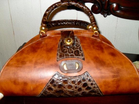 Vintage Italian Leather Purse Handbag Made In Italy