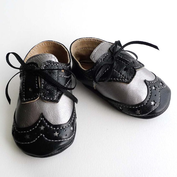 black and silver leather baby boys crib dress shoes by ajalor