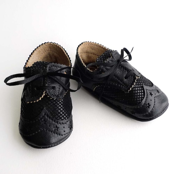 Black Leather Baby Boy Shoes - Crib Dress shoes